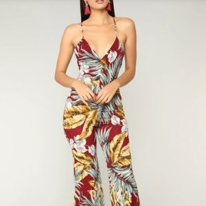 Fashion Nova Palm Leaf Paradise Jumpsuit